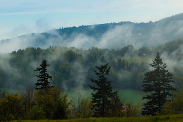 mgła w górach Beskid Śląski