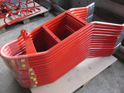steel elements for installation of equipment in red color