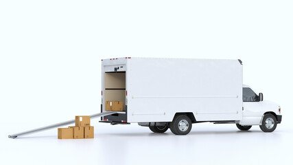 A van with an open trunk and a lowered ramp on isolated background. Moving cardboard boxes. Delivery and shipping concept. 3d render.