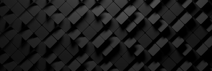 Fototapeta Wide banner with many random square hexagons in charcoal dark black color