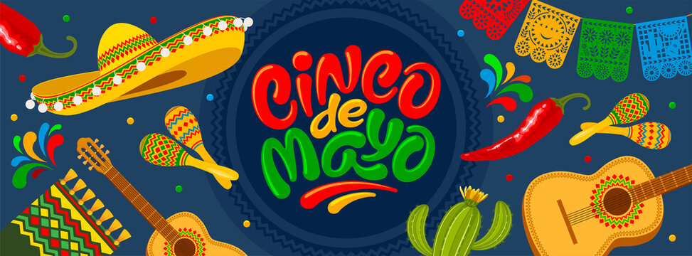 Cinco de Mayo banner template for mexico independence celebration with traditional papercut flags and other symbols of holiday. Lettering calligraphy inscription Cinco de Mayo. Vector illustration.