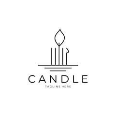Fototapeta Candle logo line art vector illustration design obraz