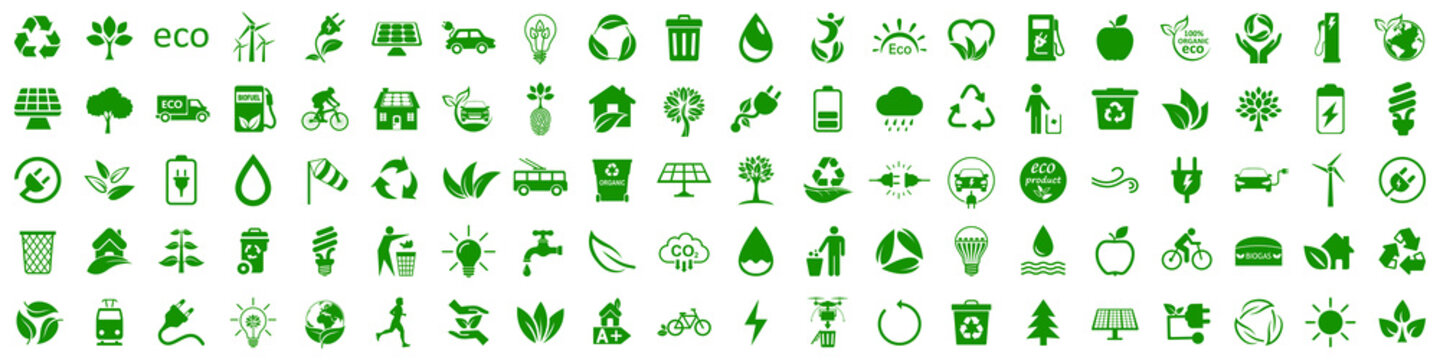 Set of 100 ecology icons. Eco green signs. Nature symbol – stock vector
