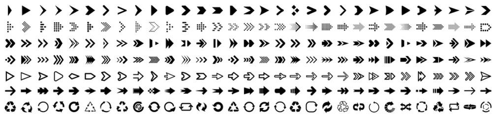 Fototapeta Set arrow icons. Collection different arrows sign. Set different cursor arrow direction symbols in flat style. Black arrows icons – stock vector obraz