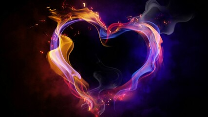 Colorful and passionate heart of fire