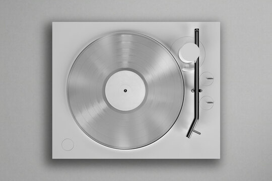 Vinyl record Player mockup on a textured background. 3D Render
