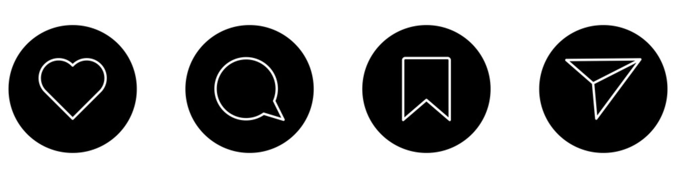 instagram, icon, share, like, comment, save, social, media, button, send, follow, heart, symbol, vector, line, message, outline, set, app, element, love, notification, post, direct, flat, internet, na