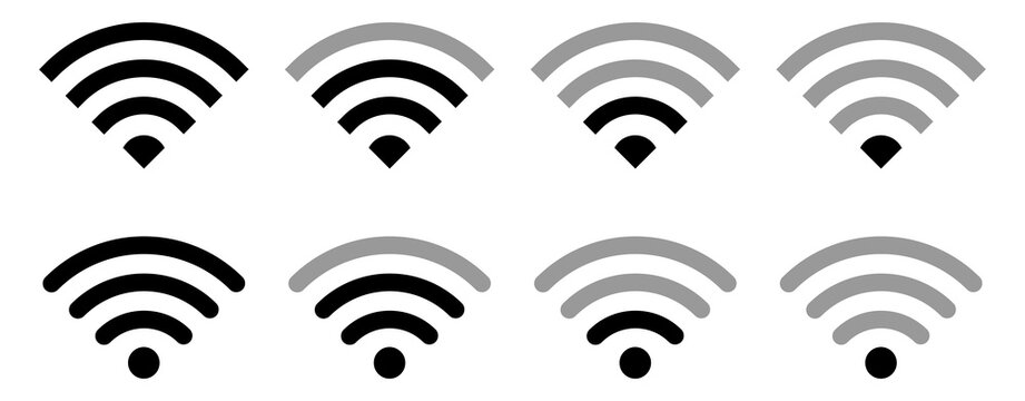 Set of wi-fi icons. Wireless internet wifi signal level, wifi off, disconnected network. Vector symbols for web, design, app, ui