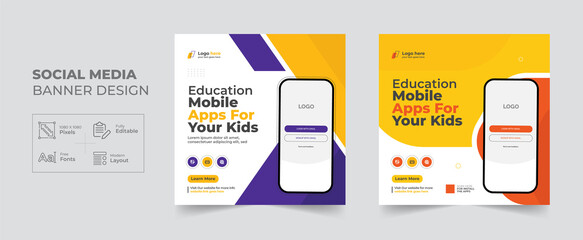 Education Mobile apps promotion social media post and web banner template, Corporate Business kid School advertisement cover banner design layout