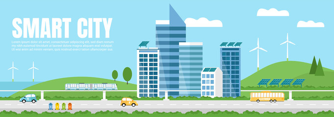 Green Eco friendly smart city landscape. Skyscrapers,solar panels, windmills, waste bins, electrocar, train, and electrobus.  Renewable energy, waste recycling. Web banner, template.