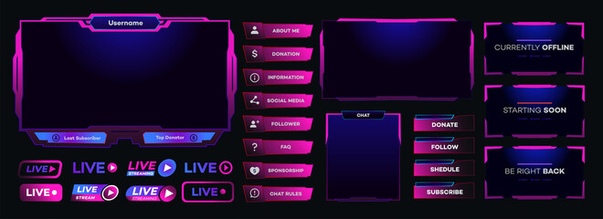 Obraz Vector streaming screen panel overlay game template neon theme. Live video, online stream futuristic technology style. Abstract digital user interface. Live streaming button. Vector 10 eps - fototapety do salonu