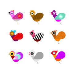 Multicolor designs isolated on a white background Bird Icon Set vector illustration. Nine different bird images. Can be used as a logo.