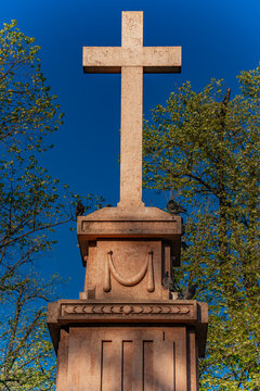 Monument of the cross at King Peter Square in Pancevo, Serbia