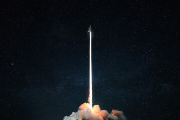 Space rocket launch into the starry sky. Space shuttle with blast and blast lift off into space on a dark background. Successful start, concept