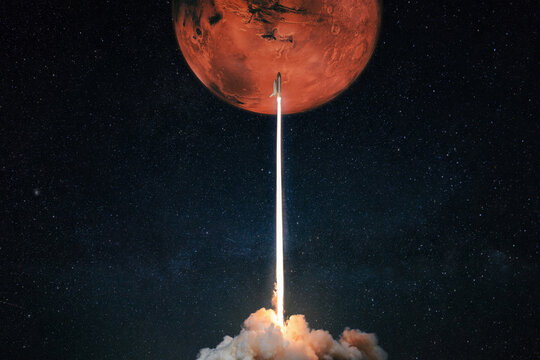 Rocket with blast and smoke takes off to the red planet mars mars, concept. Spacecraft lift off to explore other planets. Rocket launch
