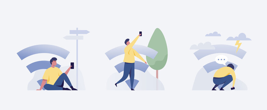 .Young man looking for a wifi signal outdoors. Vector illustration