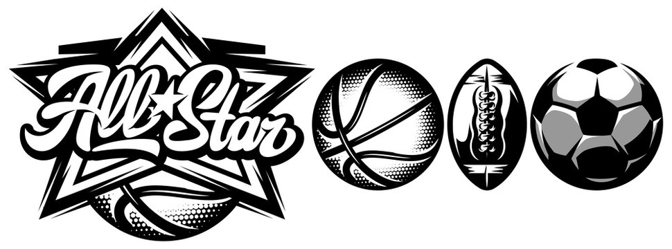 Vector template for design sporting badge with set of balls for basketball, soccer and American football