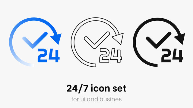 24/7 icon vector set. Service open 24h hours a day and 7 days a week. Flat isolated colorful 24/7 icon collection. Always open vector with gradient, rounded sign isolated on white background