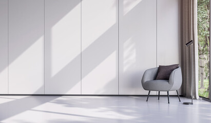 Minimal style living room decorate with modern gray lounge chair 3d render There are empty white wall with vertical groove with large window overlooking nature view sunlight shining into the room