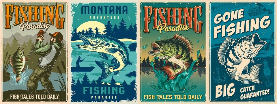 Fishing vintage colorful posters set