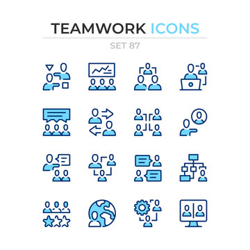 Teamwork icons. Vector line icons set. Premium quality. Simple thin line design. Modern outline symbols collection, pictograms.