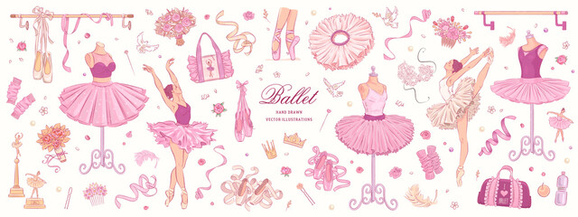 Estores personalizados con tu foto Hand drawn sketch ballet set. Vector illustration