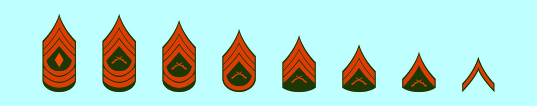 set of marine corps rank cartoon icon design template with various models. vector illustration isolated on blue background