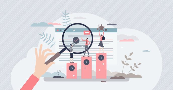 Online ranking and websites search engine top results tiny person concept. SEO for marketing optimization and internet browser positive quality assessment vector illustration. Network traffic analysis