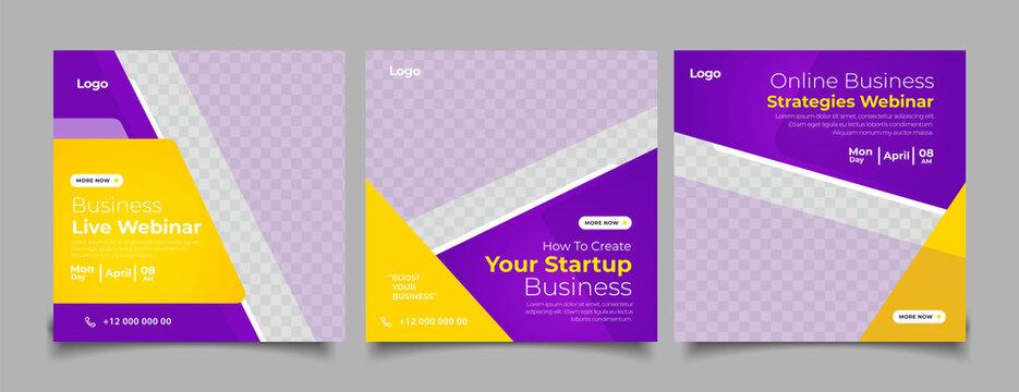 Business webinar banner for social media post template