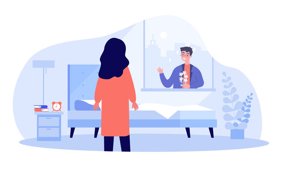 Boyfriend surprising girlfriend with flowers. Man greeting lover in morning, waving through window flat vector illustration. Romance, love concept for banner, website design or landing web page