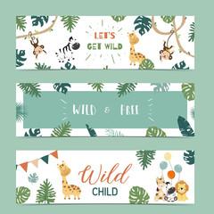Set of cute safari with giraffe, zebra,monkey.Vector illustration for baby invitation, kid birthday invitation,banner and postcard