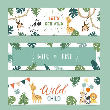 Set of cute safari with giraffe, zebra,monkey.Vector illustration for baby invitation, kid birthday invitation,banner and postcard