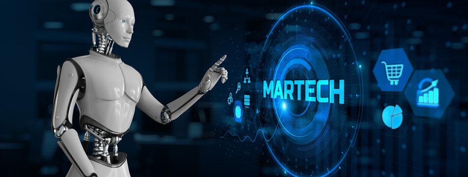 Martech Digital marketing automation technology concept. Robot pressing button on screen 3d render