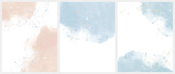 Obraz Set of 3 Delicate Abstract Watercolor Style Vector Layouts. Light Beige and Blue Paint Stains on a White Background. Pastel Color Stains and Splatter Print Set. - fototapety do salonu