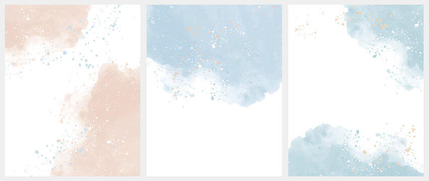 Set of 3 Delicate Abstract Watercolor Style Vector Layouts. Light Beige and Blue Paint Stains on a White Background. Pastel Color Stains and Splatter Print Set.