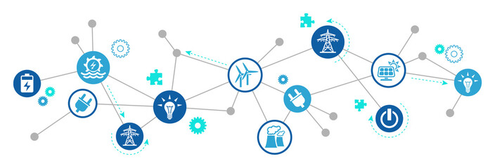 electricity / energy vector illustration. Concept with connected icons related to energy transmission, alternative or renewable energy and electric power infrastructure.