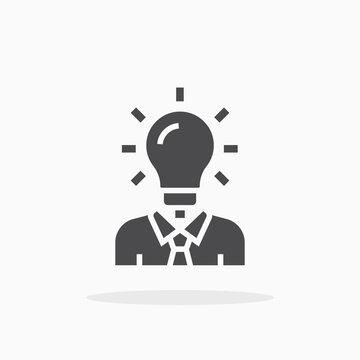 Man head light bulb icon.