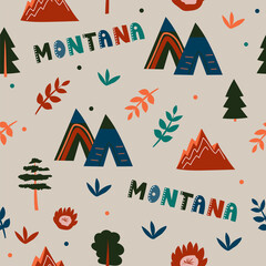 Fototapeta USA collection. Vector illustration of Montana theme. State Symbols