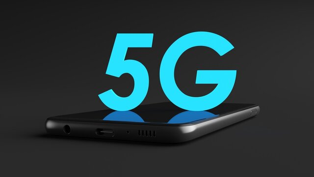 5 G text on a cell phone and black background, fifth generation networking technology.
