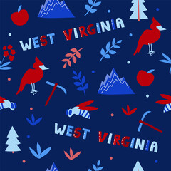 Fototapeta USA collection. Vector illustration of West Virginia heme. State Symbols