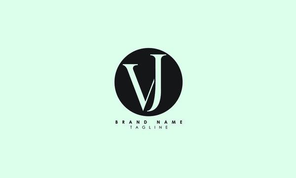 Alphabet letters Initials Monogram logo VJ, JV, V and J