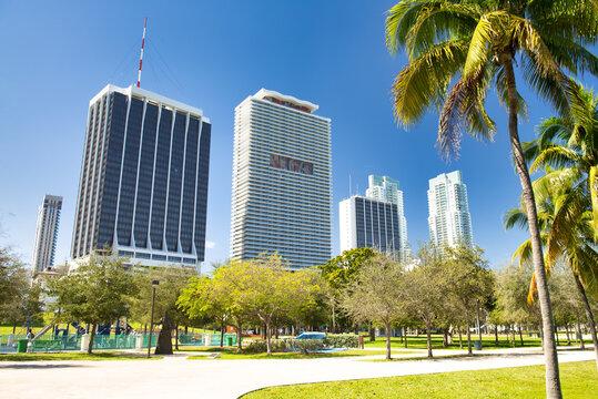 MIAMI, FL - FEBRUARY 27, 2016: Miami Bayfront Park on a sunny winter day