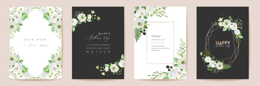 Mothers day beautiful floral cards. Watercolor flowers frame vector set. Spring flower design for Mother party