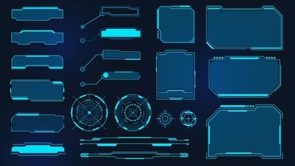 Fototapeta Futuristic frames. Cyberpunk HUD square screen, callout, title and radar. Digital info box and sci fi UI panel. Virtual interface vector set