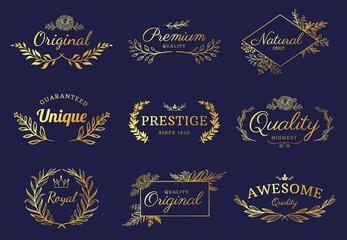 Obraz Golden ornament labels. Luxury floral badges and logo with leaf, flowers and crown. Vintage gold royal premium flourishes element vector set - fototapety do salonu