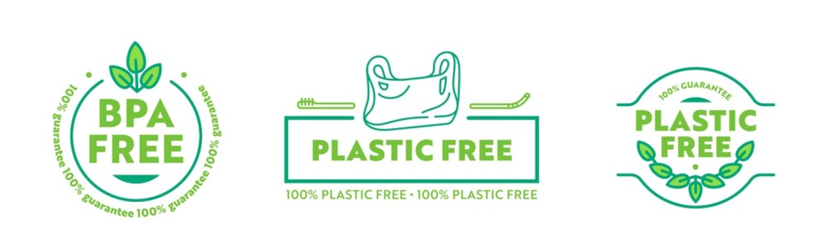 Set of Icons Plastic Free and BPA Free Guarantee. Creative Labels for Ecology Nature Protection with Green Leaves