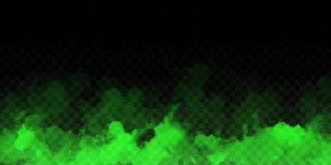 Vector realistic isolated Green Smoke effect for decoration and covering on the transparent background.