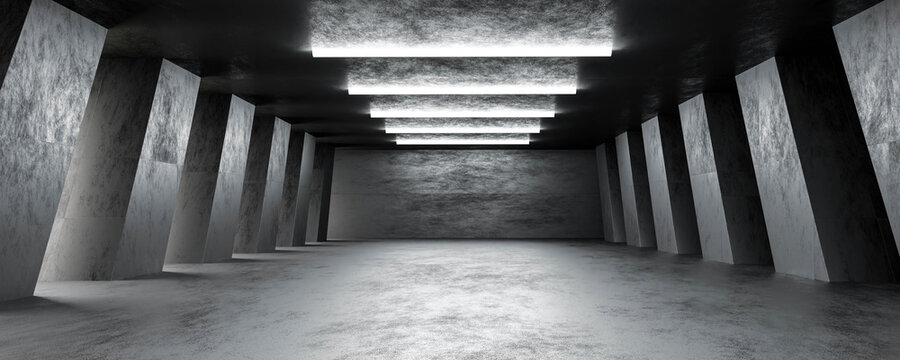 dark abstract basement building interior with columns and dark concrete surface 3d render illustration