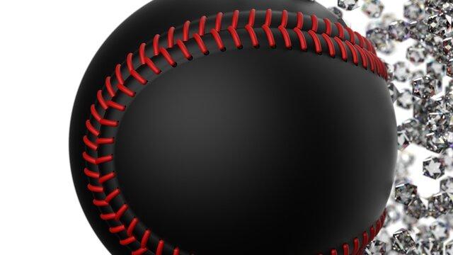 Orange-purple Baseball with diamond particles under blue flare lighting. 3D illustration. 3D CG. 3D high quality rendering.