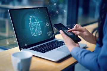 Obraz CYBER SECURITY Business  technology Antivirus Alert Protection Security and Cyber Security Firewall Cybersecurity and information technology - fototapety do salonu